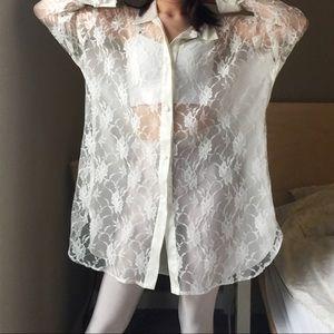 Victoria's Secret Golden Label Lace Satin Blouse.